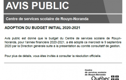Avis Public Adoption Du Budget 2020 2021